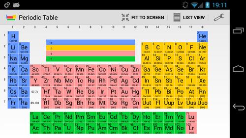 App gratuite tableau p riodique des el ments applications utilitaires forum frandroid - Table des elements periodiques ...